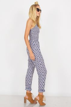 - Cobalt And White - Printed Jumpsuit - Halter Top - Smocking Top Detail - Low Tie Back - 100% Rayon - Fits True To Size For Best Care: Hand Wash $74