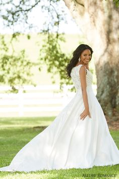 allure romance fall 2015 bridal 2865 sleeveless pretty satin wedding dress lace panel back view #weddingdresses #weddingdress