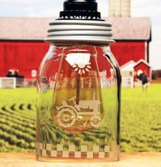 A mason jar was turned into a vintage pendant lamp with an attractive amber Edison bulb. Glass Etching Stencils, Bottle Cutter, Vintage Tractors, Mason Jar Lamp, Modern Industrial, Mugs, Tableware, Etched Glass, Google
