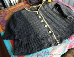 Altered upcycled mens sweater tuscan rose b