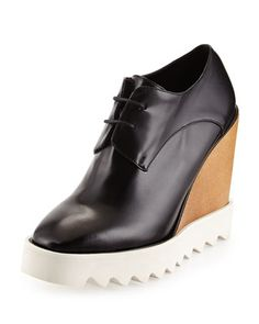 Faux-Leather Wedge Oxford, Black by Stella McCartney at Neiman Marcus.