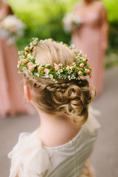 Have your flower girl wear a crown of hypericum berries and waxflowers for a boho wedding! {Maggie Fortson Photography}