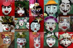 mascaras de mosaico com louças , feitas em uma base de frigideiras
