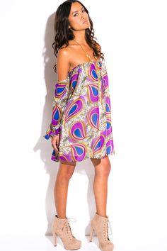 plus size purple peacock print chiffon off shoulder long sleeve boho party mini sun dress