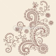 Henna Mehndi Paisley Flowers and Vines Doodle Vector Design