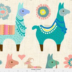 Llama Fabric  Llama Fun By Mariafaithgarcia  Alpaca von Spoonflower