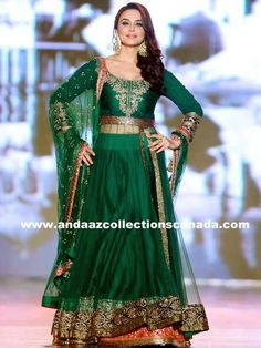 Charming Preity Zinta Green Manish Malhotra  Ramp Anarkali Lehenga but it now at andaazcollectionscanada