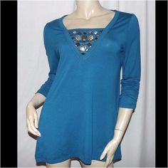 "NEW Style & Co Sharkbite hem Tunic Petite Size M Embellished center bust, scrunched 3/4 length sleeves, asymmetrical hem, 62 polyester 33 rayon 5 spandex. Bust 36-46"" length 28-30"". Petite size medium. Style & Co Tops Tunics"