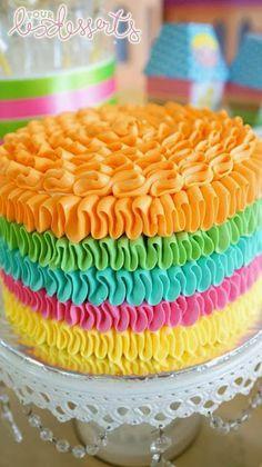Rainbow buttercream ruffles