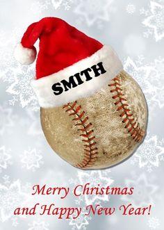 personalized santa hat on baseball christmas cards60 card minimum - Baseball Christmas