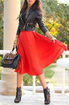 Leather / Studded / Animal Print / HOT RED / Sheer / Waist
