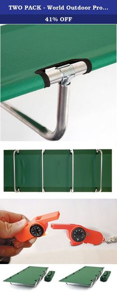 TWO PACK - World Outdoor Products Big Bear EASY ROLL UP Anodized Aluminum Frame Camping Cot with TWO EMERGENCY POWER WHISTLES. SUMMER SALE and FREE SHIPPING! The BIG BEAR Anodized Aluminum Frame ROLL UP COT is 84 inches in Length and 32 inches Wide and 9 inches High. Excellent craftsmanship is built into every one of these cots. Its the most comfortable Roll Up Style Cot you will ever sleep on! The 600 D Polyester Hunter Green Fabric is Washable and Mildew Resistant. GREAT for unexpected...