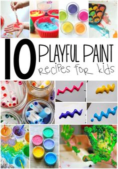 10 Playful Paint Recipes for Kids - great summer sensory activities and DIY recipes list