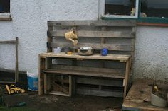 Easy instructions on building a Mud Kitchen out of old pallets...for free! Country Kids is doing this!