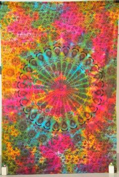 Tie Dye Indian Mandala Tapestry Hippie Hippy Wall Hanging Throw Bedspread Dorm Tapestry Decorative Wall Hanging , Picnic Beach Sheet Coverlet- Jaipurhandloom