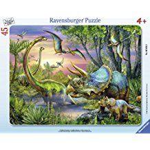 Ravensburger - 06633 - Puzzle Enfant avec Cadre - Paisibles Dinosaures - 37 Pièces