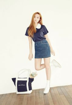 """Jessica Kicks Back in Chic Style and Fashion for """"Blanc & Eclare"""" Denim Fashion Line, Asian Fashion, Daily Fashion, Fashion Beauty, Girl Fashion, Jessica & Krystal, Krystal Jung, Jessica Jung Fashion, Jessica Jung Style"""