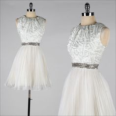vintage 1960s dress . silver metallic . by millstreetvintage