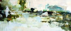 Alex Kanevsky, Cold River, Oil on Board, 14.5 x 31 inches