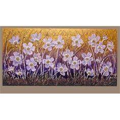 """ULTIMA CREAZIONE. """" Ranuncoli lilla """" Acrilico spatolato su tela con applicazione di sabbie glitterate e graniglie. La composizione di fiori, ispirata ai ranuncoli campestri, è rappresentata da colori luminosi che si possono adattare ad ambienti moderni e stili diversi."""