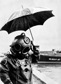Scuba Diver- Helmet - Scuba Suit1949- with Umbrella- Weird Old Photo Print