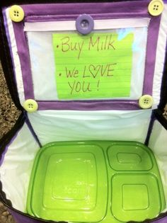 Sort of obsessed with this lunchbox. A vinyl pocket added to the inside and outside allows parents to send notes to teachers/lunch aids while the inside pocket is great for lunch love notes, or for our friends who are struggling with lunch, instructions on what to do: i.e. take 5 bites of ALL foods, ask 2 friends what they have for lunch today, etc.