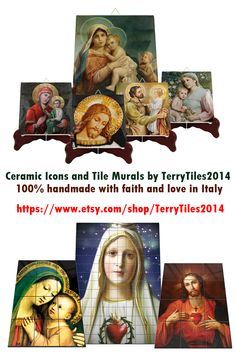 Catholic ceramic icons - Murals - Collectible tiles by Catholic Blogs, The Good Catholic, Catholic Gifts, Catholic Art, Religious Gifts, Religious Icons, Tile Murals, Tile Art, Christian Gifts