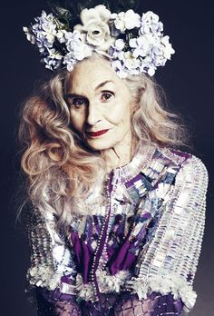 This is the fabulous Daphne Selfe and she is rocking that flower crown.  What I hope to look like when I'm old