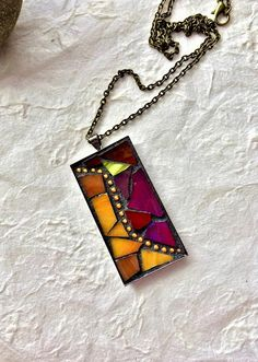 Sweet little mosaic pendants stained glass mosaic designs mosaic pendant on etsy by runningbeardesign aloadofball Image collections