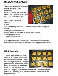 Great breakfast recipes & ideas for the Pampered Chef Brownie Pan! :) Looking for a Brownie Pan? Order yours at: www. Muffin Pan Recipes, Baker Recipes, Cooking Recipes, Rockcrok Recipes, Epicure Recipes, Bulk Cooking, Cooking Tips, Breakfast Bake, Breakfast Dishes