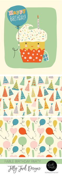 Art Licensing | Fable Birthday Party artwork by Jill Broadhacker of Jilly Jack Designs represented by A Fresh Bunch. ©2017 Jilly Jack Designs