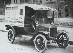 1923 Ford outside the Old Melbourne Hospital Lonsdale Street. Australia