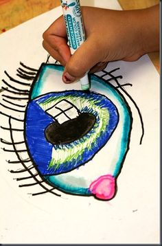 I used to do this all the time, but needed this post to remind me! Eye lesson - use markers, then paint over it with water to blend.