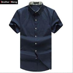 44e5ddf3344ac Men Shirt Plus Size Business Casual Short Sleeve Shirt Summer Thin Brand  Male Solid Color Shirt Black White Navy. Nobuko Philipps · Casual Shirts