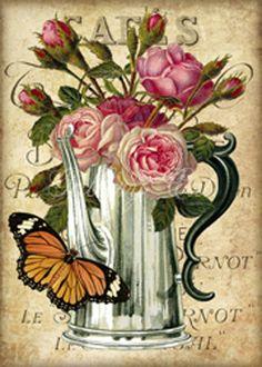 Cafés.-.02.of.03 Decoupage Vintage, Decoupage Paper, Vintage Ephemera, Tea Art, Flower Images, Handmade Crafts, Handmade Headbands, Handmade Rugs, Digital Collage