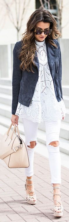 Blue suede jacket over jeans and lace top.