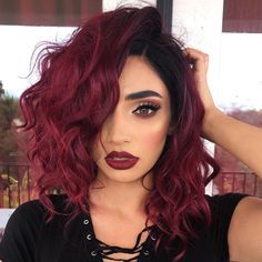Amazing Black to Red Celebrity Short Hair Wigs Synthetic Lace Front black women . - Amazing Black to Red Celebrity Short Hair Wigs Synthetic Lace Front black women … – Source by lottejeraphotodesign - Long Hairstyles, Pretty Hairstyles, Hairstyle Ideas, Curly Haircuts, Natural Hairstyles, Hairstyle Short, Burgundy Hairstyles, Fashion Hairstyles, School Hairstyles