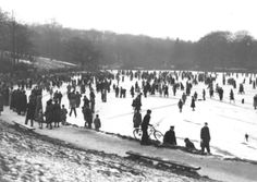 SKATING ON THE LAKE AT ROUNDHAY PARK, LEEDS IN 1952. from Leeds Past publication book by the Yorkshire Evening Post