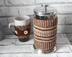 Coffee Bean French press cosy. Free mug cuff. by KwirkyKnitsUK