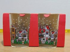 See pictures for exact condition. Dish Sets, Glass Collection, Winter Snow, See Picture, Seasonal Decor, Tumblers, Clear Glass, Holiday, Christmas