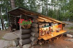 An open bar around the property of The Point; an impressive log mansion built on Upper Saranac Lake by William Avery Rockefeller