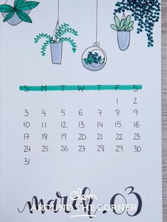 BUJO – Monthly Cover : March – Indoor Garden Inspiration Clem Around The Corner clemATC Bullet Journal & Scrapbooking Idée … Bullet Journal Easy, Bullet Journal Month, Bullet Journal Writing, Book Journal, Journal Ideas, Journal Layout, Bullet Journal Doodles Ideas, Doodling Journal, Plant Doodles
