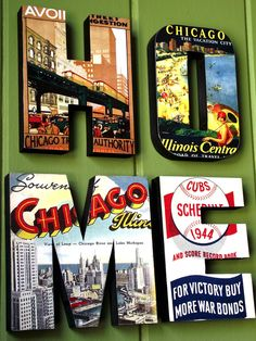 Wood Sign HOME Vintage Chicago Wall Decor. $50.00, via Etsy.
