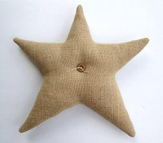 almohada decorativa vacaciones, rústico almohada estrella, estrella, Navidad almohada, almohada estrellas arpillera, arbolado, país decoraci...
