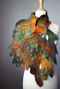 Felted scarf wool silk Avant-garde  by VitalTemptation , Etsy, via Flickr