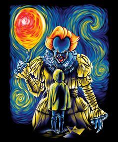 """brokehorrorfan: """"This IT-inspired shirt, featuring Pennywise in the style of Vincent van Gogh, is available for $12 today only from TeeFury. """""""