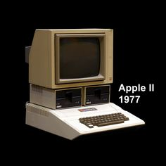 April 1977 – the first West Coast Computer Faire took place in Palo Alto. The star of the show was the Apple II. Apple Ii, All About Steve, Alter Computer, Steve Wozniak, Gaming Station, Old Computers, Apple Computers, Out Of Touch, Computer Technology