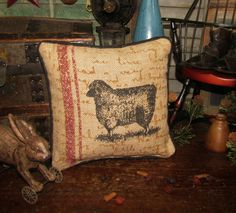"Primitive Antique Vtg Style Burlap Country Sheep Lamb Throw Pillow 9"" x 9"" Tuck"