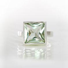 Green Amethyst Ring, Sterling Silver Ring, Square Princess Cut Green Amethyst Ring , Mint Green Prasiolite Gemstone