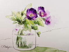Watercolor Paintings by RoseAnn Hayes: Purple Flowers in Baby Good Jar Watercolor Painting
